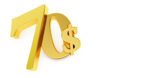 Goldenes siebzig dollarzeichen lokalisiert auf weißem hintergrund