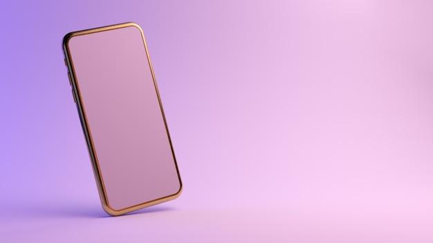 Goldenes smartphone auf lila hintergrund