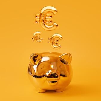 Goldenes sparschwein auf gelbem hintergrund mit gold-euro-zeichen-luftballons. goldenes währungssymbol aus aufblasbarem folienballon. investment- und bankkonzept. geld sparen, sparbüchse, finanzen, investitionen
