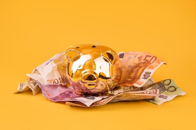 Goldenes sparschwein mit bargeld, euro und dollar banknoten