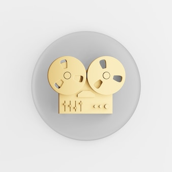 Goldenes spulen-tonbandgerät-symbol. grauer runder schlüsselknopf des 3d-renderings, schnittstelle ui ux element.