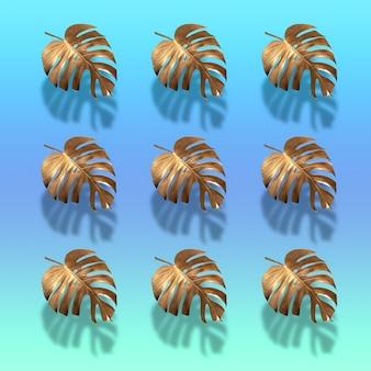 Goldenes tropisches palmblatt monstera auf pastellfarbenem luxushellblau abstraktes muster für design und raum