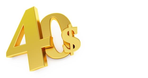 Goldenes vierzig-dollar-zeichen isoliert
