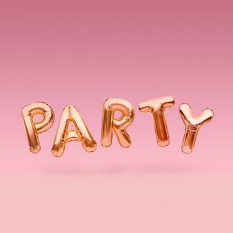 Goldenes wort party aus aufblasbaren luftballons, die auf rosa hintergrund schweben. goldfolienballonbuchstaben. feierkonzept.