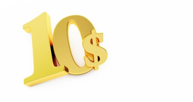 Goldenes zehn-dollar-zeichen isoliert