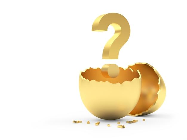 Goldenes zerbrochenes ei mit einem fragezeichen im inneren