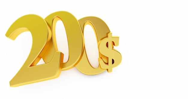 Goldenes zweihundert dollarzeichen lokalisiert auf weißem hintergrund