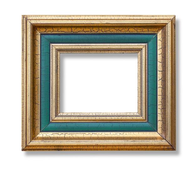Goldfarben-bilderrahmen im antiken look, isoliert auf weiß