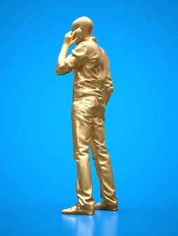 Goldfigur eines schwarzen mannes, der am telefon spricht
