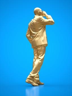 Goldfigur eines schwarzen mannes in einem anzug am telefon. 3d-rendering.