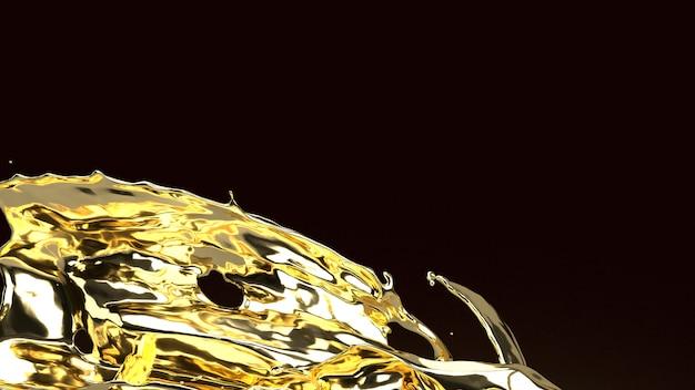 Goldflüssigkeit auf schwarzem 3d-rendering für abstrakten hintergrund.