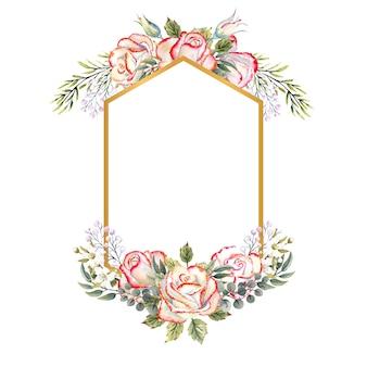 Goldgeometrischer rahmen mit einem strauß weißer rosen mit blättern, dekorativen zweigen und beeren auf weißem, isoliertem hintergrund. aquarellillustration für logos, einladungen, grußkarten usw.