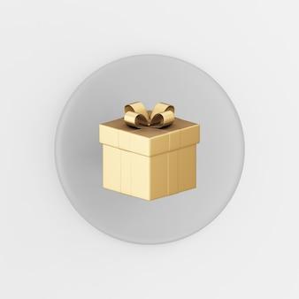 Goldgeschenkikone mit schleife. grauer runder schlüsselknopf des 3d-renderings, schnittstelle ui ux element.