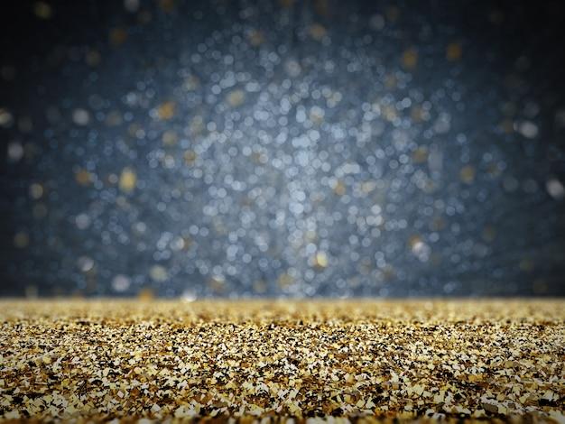 Goldglitter mit bokeh-hintergrund