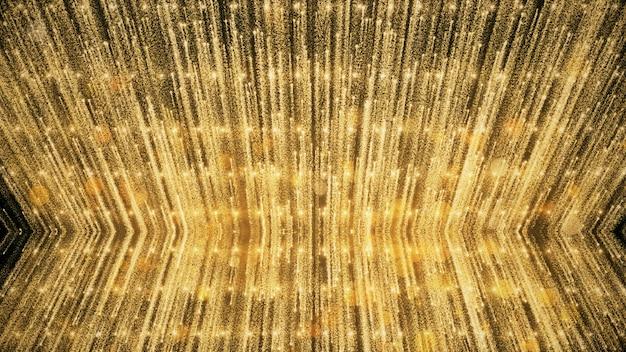 Goldglitter und reflexion beleuchtet hintergrund und tapete im preis und in der feier.