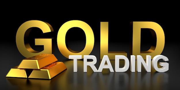 Goldhandel für website. 3d-rendering von goldbarren.