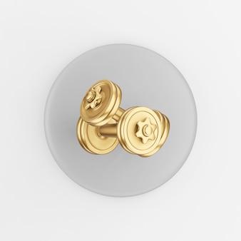 Goldhantelsymbol. grauer runder schlüsselknopf des 3d-renderings, schnittstelle ui ux element.