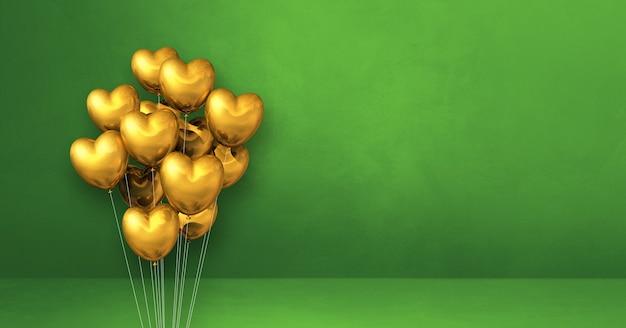 Goldherzformballon-bündel auf einem grünen wandhintergrund. horizontales banner. 3d-illustration rendern