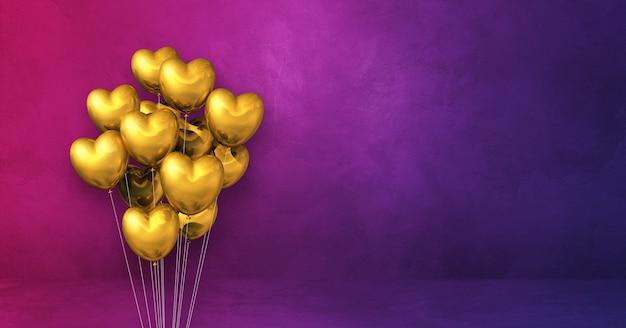 Goldherzformballon-bündel auf einem lila wandhintergrund. 3d-rendering