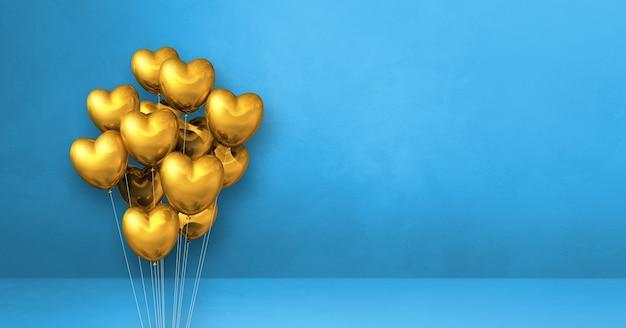 Goldherzformballonbündel auf einem blauen wandhintergrund. 3d-darstellung rendern