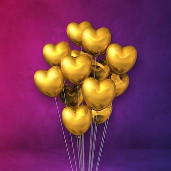 Goldherzformballonbündel auf einem purpurroten wandhintergrund. 3d-darstellung rendern