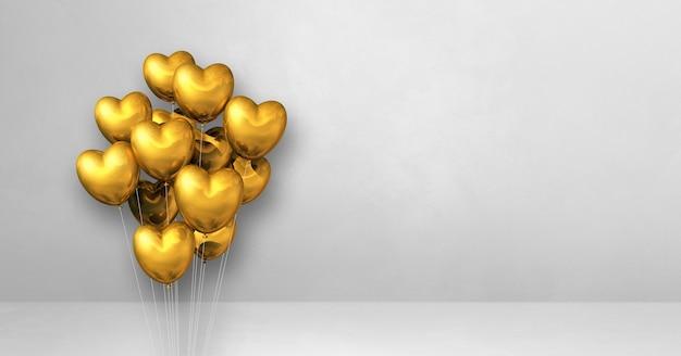 Goldherzformballonbündel auf einem weißen wandhintergrund. 3d-darstellung rendern
