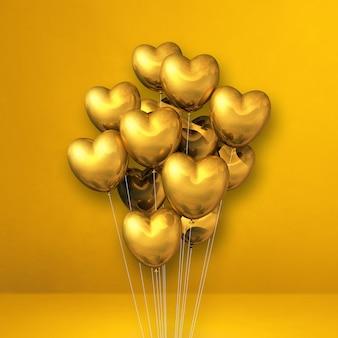 Goldherzformballonbündel auf gelbem wandhintergrund. 3d-illustration rendern