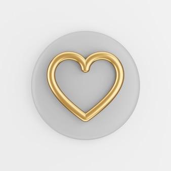 Goldherzkonturliniensymbol. grauer runder schlüsselknopf des 3d-renderings, schnittstelle ui ux element.