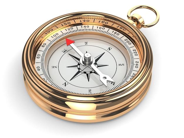 Goldkompass auf weißem hintergrund isoliert. 3d