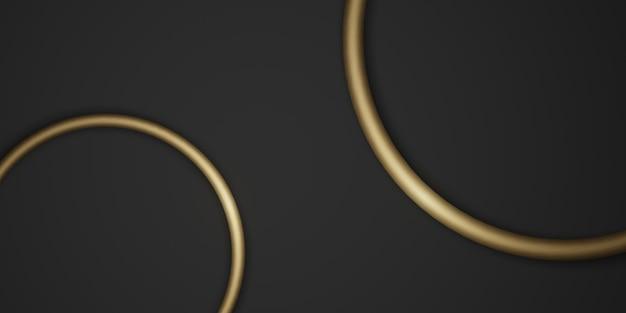Goldkreisrahmenhintergrund schwarzer hintergrund einfacher luxus für einfügen von text 3d-illustration