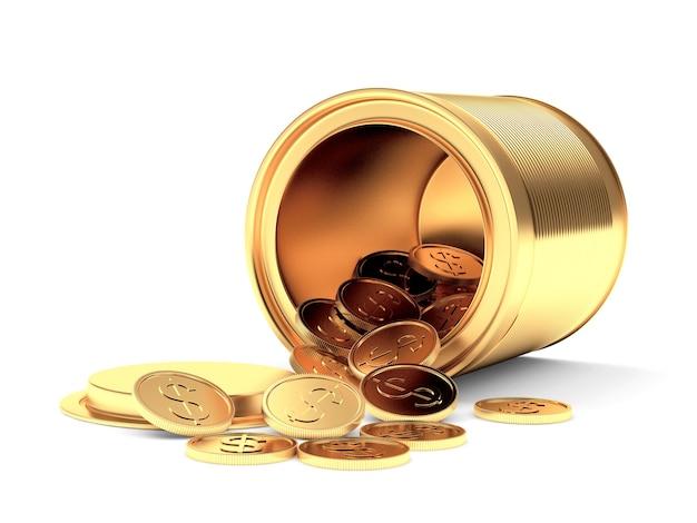 Goldmetalldose mit verstreuten dollarmünzen