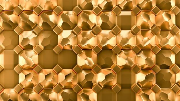 Goldmetallhintergrundbeschaffenheit. 3d-illustration, 3d-rendering.