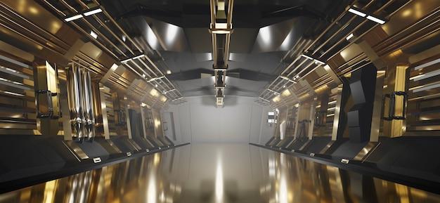 Goldmetallischer korridorhintergrund der sci-fi gold mit scheinwerfer, 3d-darstellung.