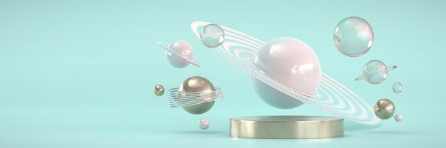 Goldmetallisches podium und stars sphere planet für produkte werbung und werbung, 3d-rendering.