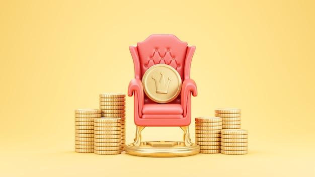Goldmünze auf rotem stuhl ist von gestapelten münzen umgeben