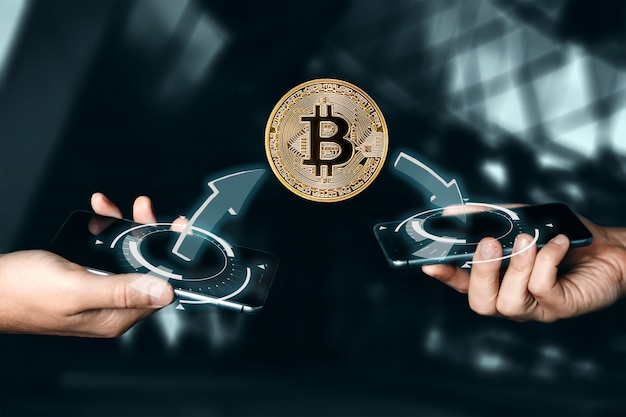 Goldmünze bitcoin-zahlung. kryptowährung. blockchain-technologie ..