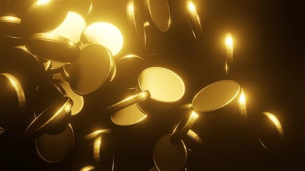 Goldmünzen, die auf schwarzen hintergrund fallen