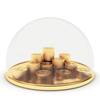 Goldmünzen durch transparente kuppel geschützt