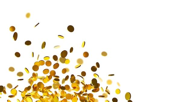 Goldmünzen fallen auf weißen hintergrund mit 3d-render des kopierraums