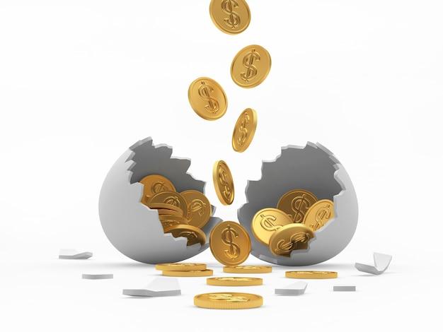Goldmünzen fallen in eine weiße zerbrochene eierschale