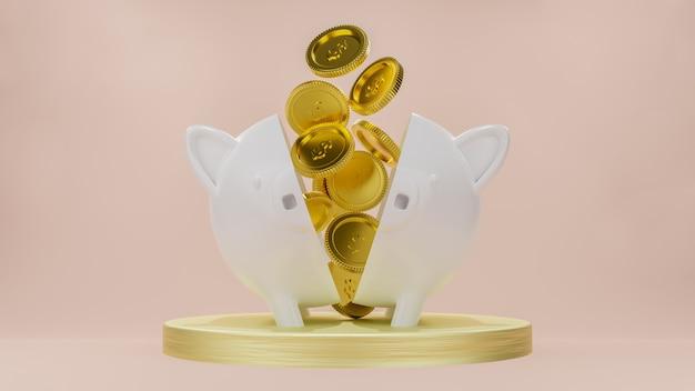 Goldmünzen fließen in 2 halbierte weiße sparschweine