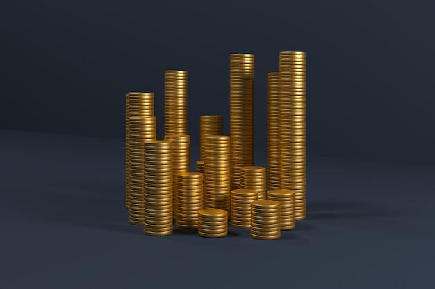 Goldmünzen stapeln sich auf blau