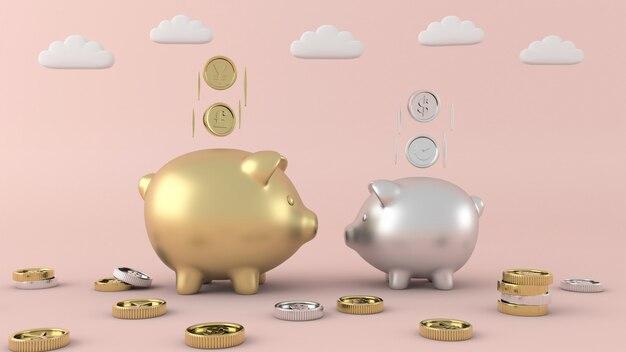 Goldmünzen und sparschweine