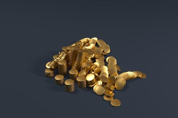 Goldmünzenstapel fallen auf blaue farbe