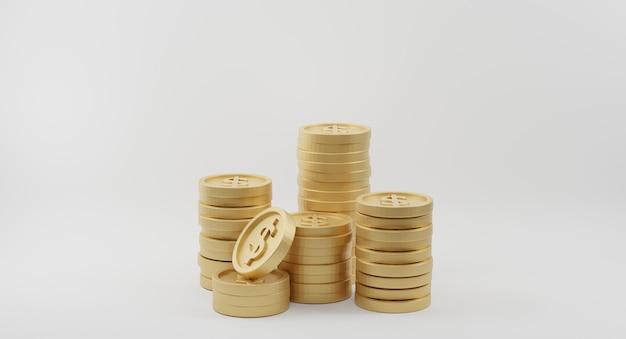 Goldmünzenstapel mit dollarzeichen. bank- und finanzkonzept. 3d-rendering