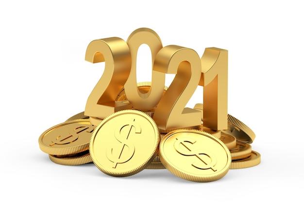 Goldnummer 2021 auf einem stapel dollarmünzen