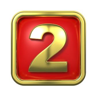 Goldnummern im rahmen, auf rotem hintergrund. nummer 2