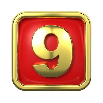 Goldnummern im rahmen, auf rotem hintergrund. nummer 9