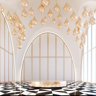 Goldplattform für die produktpräsentation luxuskuppel und goldener wassertropfen