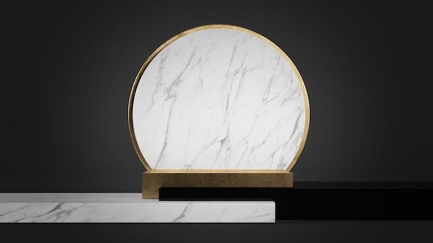 Goldpodest mit geometrischem 3d-rendering der weißen geometrischen formen des marmors, des goldes und des schwarzen plastiks
